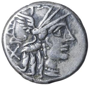 D/ C. Plutius. 121 B.C. AR Denarius. 3.80 gr. - 16.7 mm. O:\ Helmeted head of Roma r.; behind, X. R:\ Dioscuri r.; below, C. PLVTI; in exergue, ROMA. Syd 410, Cr278/1. RARE. VF+
