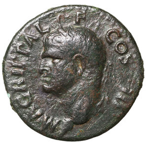 D/ Agrippa. died 12 BC. AE As. 9.78 gr. - 27.8 mm. Rome, AD 37-41. O:\ AGRIPPA L F COS IIIM; Head left in rostral crown. R:\ Neptune standing left, holding dolphin and trident; S-C. RIC 58. Dark-green patina. VF+. RARE
