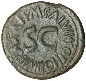 R/ Augustus. 27 BC - 14 AD. AE As, 7 BC. 8.67 gr. - 28.50 mm. O:\ CAESAR AVGVST PONT MAX TRIBVNIC POT. Bare head left. R:\ M SALVIVS OTHO III VIR AAA FF round large SC. RIC 432. Olive green patina. XF