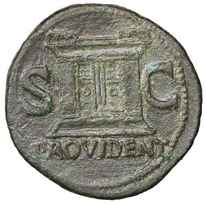 R/ Divus Augustus. Æ As. Struck under Tiberius. 31-37 AD. 10.95 gr. – 30.9 mm. O:\ DIVVS AVGVSTVS PATER, radiate head left. R:\ S-C either side of large altar, PROVIDENT in ex. Cohen 228; RIC 81 (Tiberius) aXF
