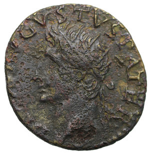 D/ Divus Augustus. AE Dupondius. Restitution by Tiberius. 27 BC - AD 14 (struck about AD 34-7). 9,37 gr. - 27,6 mm. O:\ DIVVS AVGVSTVS PATER, bust left. R:\ Eagle on globe, head to right; S-C. C.247 (2f)-RCV.1790 ($600)-RIC.82. RR. VF+