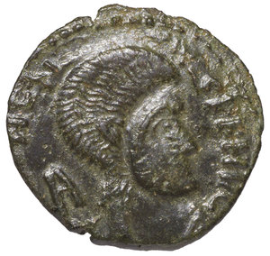 D/ BARBARIC IMITATION. MAGNENTIUS IV° sec. AD. CENTENNIONALIS. AE 2,80 gr. – 18,87 mm. O:\ Head to right. R:\ Two Victories holding shield. RARE. XF