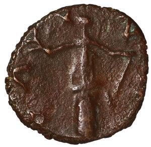 R/ Barbaric Radiates.Late 3rd century AD-5th century AD. Antoninianus. Imitating Tetricus I. Obv: Radiate bust right. Rev: PAX standing left. AE 1.85 gr. - 16,3 mm. Very fine