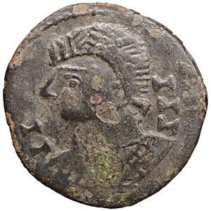 D/ VANDALS. Pseudo-Imperial coinage. Circa 440-490. 5 Nummi?. 1.80 gr. - 17.6 mm. O:\ II III; pearl-diademed, draped, and cuirassed bust left. R:\ IIIII, cross potent. MEC 1, –; BMC Vandals -. XF. Very rare.