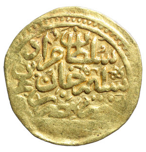 R/ OTTOMAN EMPIRE. Murad III (AH 982-1003 / AD 1574-1595). GOLD Sultani. Misr (Cairo). Dated AH 982 (1574/5). 3.52 g. -  20 mm. O:\ Legend. R:\ Legend with mint and AH date. Pere 274; Album 1332. aXF