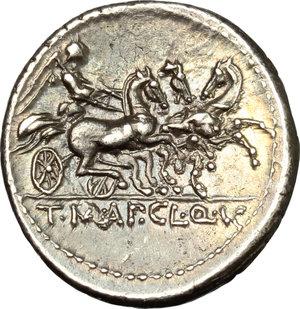T. Manlius Mancinus, Appius Claudius Pulcher and Q. Urbinius.. AR Denarius, 111-110 BC