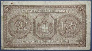 D/ VITTORIO EMANUELE III BUONO 2 LIRE 21/09/1914 NC BB