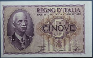 R/ VITTORIO EMANUELE III 5 LIRE 1940 IMPERO SPL