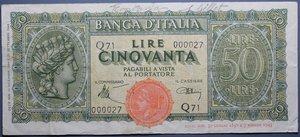 R/ LUOGOTENENZA 50 LIRE 1944 ITALIA TURRITA BB+