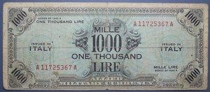 R/ OCCUPAZIONE AMERICANA 1000 LIRE 1943 AM BILINGUA MB-BB