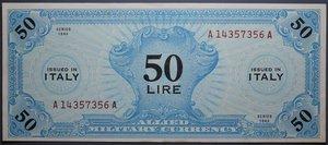 R/ OCCUPAZIONE AMERICANA 50 LIRE 1943 AM SPL+