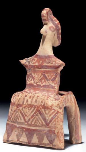 obverse: Demetra in trono Materia e tecnica: argilla figulina rosata,