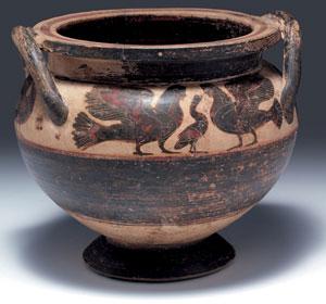 obverse: Cratere a colonnette etrusco Materia e tecnica: argilla figu