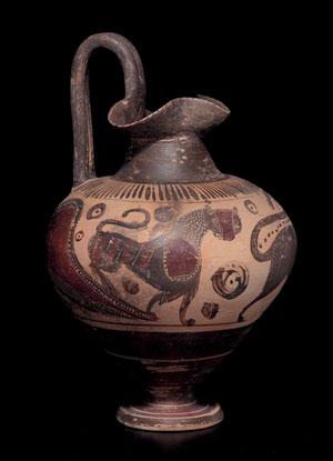 obverse: Grande oinochoe etrusco corinzia Materia e tecnica: argilla