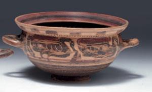 obverse: Kylix etrusco corinzia Materia e tecnica: argilla camoscio,