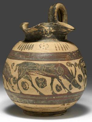 obverse:  Oinochoe etrusco corinzia Materia e tecnica: argilla figuli