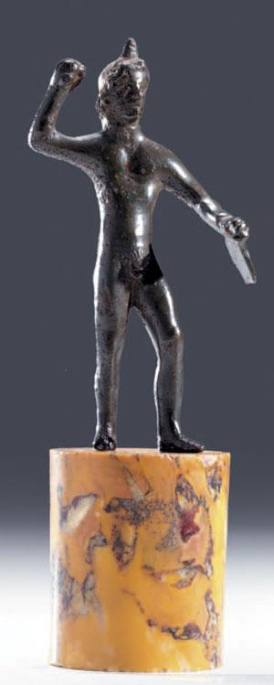 obverse: Statuetta di Eracle in assalto Materia e tecnica: bronzo a f