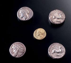 obverse: 310 Tetradracma siculo-punica Materia e tecnica: argento con