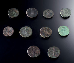 reverse:  Lotto di monete romane Materia e tecnica: bronzo coniato Un