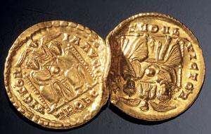reverse:  Due solidi in oro Materia e tecnica: oro coniato Due solidi