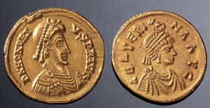 reverse:  Coppia di solidi Materia e tecnica: oro coniato Due solidi