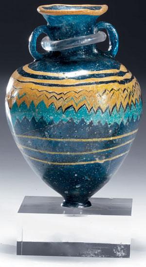 obverse:  Grande amphoriskos in pasta vitrea blu cobalto Materia e te