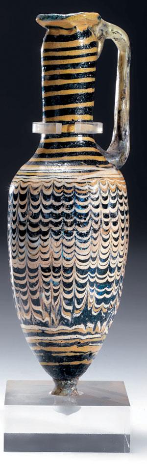 obverse:  Raro balsamario in pasta vitrea blu cobalto Materia e tecni