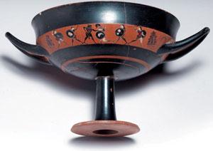 reverse:  Kylix attica a figure nere tipo band cup Materia e tecnica: