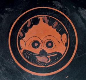 reverse:  Kylix attica ad occhioni Tipo A Materia e tecnica: argilla