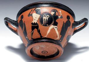 obverse:  Cup-skyphos Materia e tecnica: argilla arancio; vernice ner