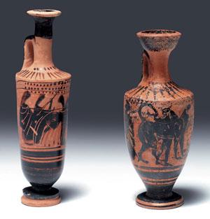 obverse:  Due lekythoi attiche a figure nere Materia e tecnica: argil