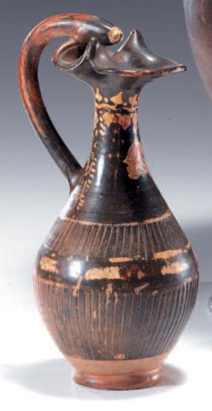 obverse:  Oinochoe nello stile di Gnathia Materia e tecnica: argilla