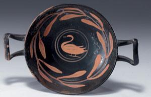 obverse:  Kylix suddipinta Materia e tecnica: argilla figulina aranci