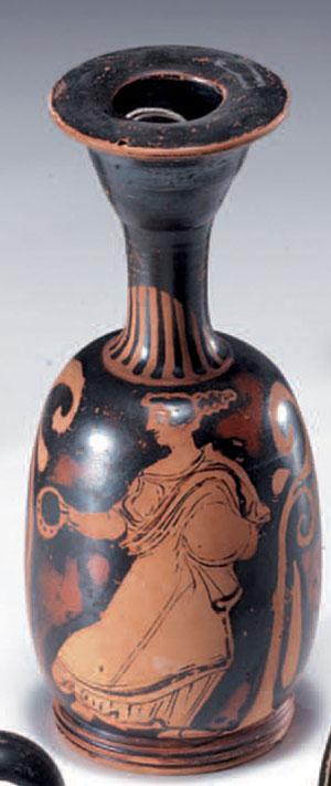 obverse:  Lekythos aryballica a figure rosse Materia e tecnica: argil