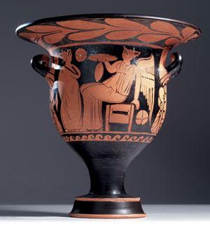 obverse:  Cratere a campana a figure rosse Materia e tecnica: argilla