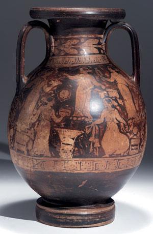 reverse:  Grande pelike apula a figure rosse Materia e tecnica: argil