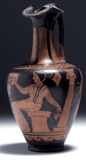 obverse:  Grande oinochoe campana a figure rosse Materia e tecnica: a