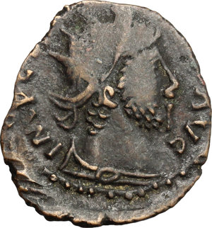 D/  AE, Uncertain mint, 3rd-4th century BC.  D/ Bust of Carausius right, radiate, draped. R/ Pax standing left; holding branch and vertical sceptre. For the prototype, see RIC 936. AE. g. 1.35  mm. 17.00   Barbaric imitation of an Antoninianus of Carausius. Good die cut. Dark brown patina. About VF/F.