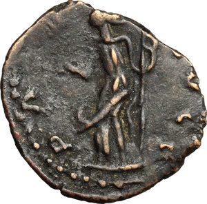 R/  AE, Uncertain mint, 3rd-4th century BC.  D/ Bust of Carausius right, radiate, draped. R/ Pax standing left; holding branch and vertical sceptre. For the prototype, see RIC 936. AE. g. 1.35  mm. 17.00   Barbaric imitation of an Antoninianus of Carausius. Good die cut. Dark brown patina. About VF/F.