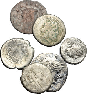 D/  Lot of 5 Roman Republican AR and 1 Roman  Imperial BI Antoninianus,.     AR.      F.
