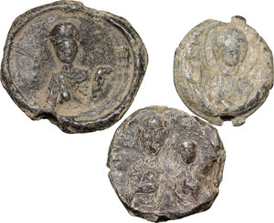 D/  Lot of 3 Byzantine bullae.     PB.      About VF/F.