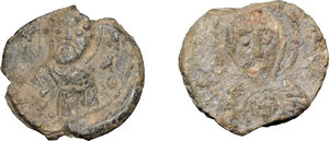 D/  Lot of 2 Byzantine bullae.     PB.     One with picture of a ruler and one with religious picture. F.