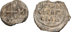 R/  Lot of 2 Byzantine bullae.     PB.      About VF.