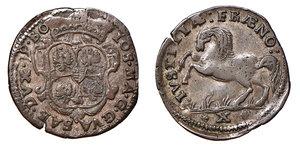 GUASTALLA Giuseppe Maria Gonzaga (1729-1746). Cavallotto, o 10 soldi, o mezza lira. Bellesia 3. MIR 427. MI. Raro. BB.
