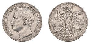 REGNO D ITALIA. Vittorio Emanuele III (1900-1946). 5 lire del 1911. Pag. 707. AG. Raro. BB/SPL.