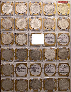 AUSTRIA-UNGHERIA  Album contenente circa 338 monete, di cui 132 in argento (16 da 5 corone, 10 da 2 corone, 54 da una corona, 40 da un fiorino e 12 da 20 kreuzer).