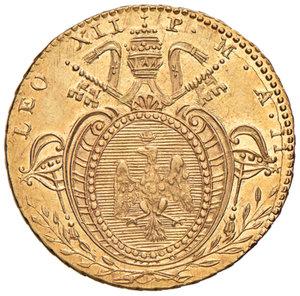 Leone XII (Annibale Sermattei della Genga di Genga, 1823-1829). Bologna. Doppia anno II AV. Muntoni 13. Berman 3254. Chimienti 1263. Rara. Graffietto al rov., SPL/q.SPL