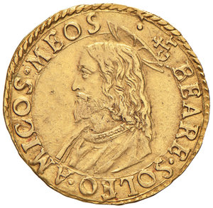 Gregorio XIII (Ugo Boncompagni di Bologna, 1572-1585). Scudo d oro AV gr. 3,24. Muntoni 6. Berman 1139. Minimi segnetti sul bordo, migliore di BB  Variante molto rara recante, al dr., la legenda GREGORIVS per esteso anziché in forma abbreviata.