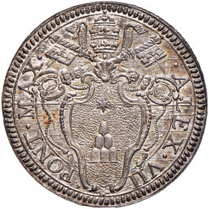 Alessandro VII (Fabio Chigi di Siena, 1655-1667). Giulio AG gr. 3,27. Muntoni 14. Berman 1904. Raro. Ottimo esemplare con fondi brillanti e dai nitidissimi dettagli, FDC