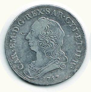 D/ SAVOIA - Carlo Emanuele III - Mezzo Scudo nuovo 1757; D/ Busto a s.; R/ Stemma ovale coronato - MIR 947C. AR - MB